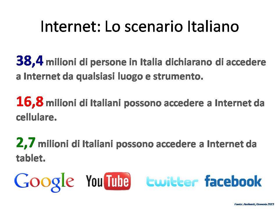 Quanti italiani usano internet oggi? 2013