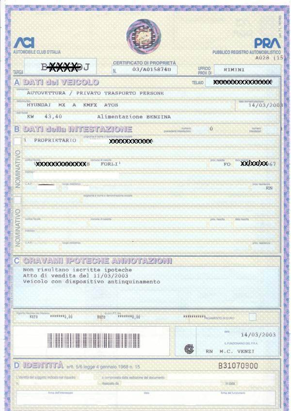 Passaggio di propriet auto costo documenti e procedura for Citta tedesca nota per le fabbriche di auto