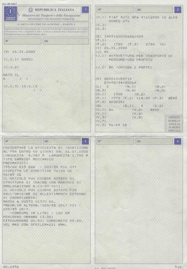 Libretto di circolazione - come leggere la carta di circolazione auto?